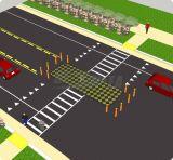 Пешеходный переход острова дороги безопасности движения резиновый