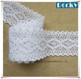 Laço bordado branco químico do algodão da guarnição da borda do laço
