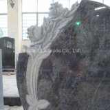 Indian Bahama Blue Granite Headstones com Rose Carving