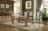 贅沢なローズの金のステンレス鋼のダイニングテーブルデザイン大理石の上