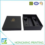 Luxe boîte-cadeau de vin de carton de noir de 2 parties