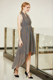 V Neck High Waist Pleated Smocking High Low Hem Swing Chiffon Dress