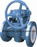 Type vanne à robinet chemisée de bride de JIS10k de tournant conique de douille de PTFE