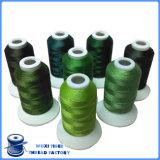 Alto filetto del ricamo del rayon viscoso di colore verde di tenacia