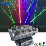 Spin die van de Laserstraal van 8 Hoofden van de disco RGB HoofdVerlichting bewegen