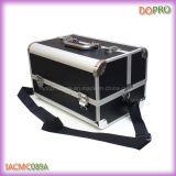 Черный кожаный Мэтт алюминий ПУ Макияж Сумка для (SACMC089A)