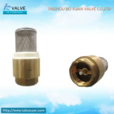 Válvula de cheque de cobre amarillo con la válvula de pie del resorte y del filtro (BX-3004)