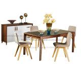 緩和されたガラスの上(ラクダ601)が付いている純木のダイニングテーブル