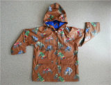 Cartoon design Children Rain jacket with PU Coating