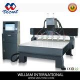 Máquinas de gravura lisas da maquinaria do CNC do Woodworking das Multi-Cabeças