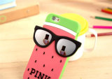 Caja rosada del teléfono móvil del silicón de la sandía de la punta de los vidrios para el iPhone 6s 5 7 7plus (XSP-011)