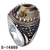 새로운 디자인 925 CZ 돌을%s 가진 은 보석 마노 남자 반지