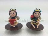 Decorações animais do bolo do chapéu de coco do bolo de aniversário da argila do polímero para Childrent