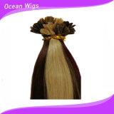 Trama humana lisa de venda quente do cabelo do Virgin da ponta 100$ da queratina (KH-001)