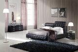현대 가정 침실 세트 가구에 의하여 덮개를 씌우는 가죽 침대 (HC218B)