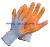 Работая перчатка сада, покрынный латекс