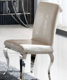 現代黒いワニの革ロココ様式の様式の鋼鉄食事の椅子(018)