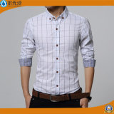 Camisa impresa algodón largo de la funda de la camisa de alineada de 2017 hombres del resorte
