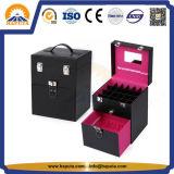 Prego do PVC & caso da composição da beleza da jóia com frame de couro (HB-6001)