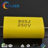 Cbb20 805j / 250V axial metalizado de condensadores de película de polipropileno con alambre de cobre amarillo RoHS para la carrera (Serie CBB20)