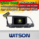 Автомобиль DVD GPS Android 5.1 Witson для поддержки интернета DVR ROM WiFi 3G набора микросхем 1080P 16g Hyundai Elantra 2016with (A5578)