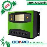 60A, 12V/24V, LCD, regulador solar de PWM