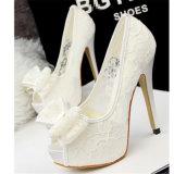 Красивейшая сандалия ботинок женщин высоких пяток насоса шнурка