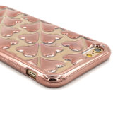 iPhone 5/6/S7のための移動式Phone Bling Heart Electroplate Cellphone Case