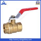 Valvola a sfera d'ottone dell'acqua di vendita della fabbrica con la maniglia del ferro (YD-1008)