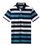 Camicia di polo tinta filato della banda di modo degli uomini su ordinazione
