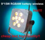 Lumière sans fil de couleur de la batterie bon marché DEL de 9X15W Rgbaw