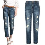 Kundenspezifische Form-hohe Taillen-dünne gerade Sitz-Frauen-Denim-Jeans
