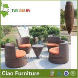 Sistema de café al aire libre de mimbre de la rota de los muebles del patio del jardín del ahorro de espacio