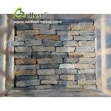 Fuori delle parti allentate beige della pietra del Mocha dell'impiallacciatura della parete