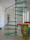 Escalera de las escaleras del vidrio espiral de cristal moderno de la alta calidad y del acero inoxidable