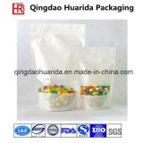 L'imballaggio per alimenti riciclato si leva in piedi in su il sacchetto di plastica della caramella con la chiusura lampo