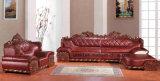 Sofá real clásico de cuero de madera moderno de la sala de estar (UL-NSC086)