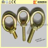 El cinc del fabricante del sujetador plateó el tornillo de ojo forjado frío de cobre amarillo largo con los medios tornillos de ojo de la cuerda de rosca