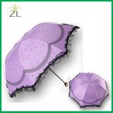 22 인치 8k 3 겹 폴리에스테 직물 레이스 가장자리 접히는 우산