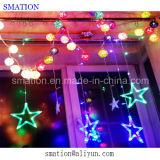 Luzes ao ar livre a pilhas da bolha do Natal do diodo emissor de luz da cor-de-rosa do floco de neve do feriado