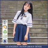 Белая рубашка хлопка и голубые формы средней школы Skrit навальные выполненные на заказ