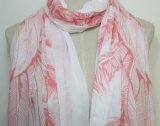 女性の羽によって印刷される方法綿のボイルの絹のスカーフ(YKY1071)