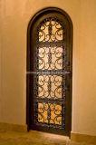 圧倒すること手作りされた正方形の上の錬鉄の単一のドア