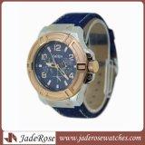 Relógio do aço inoxidável com couro genuíno para homens