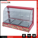 Heißer verkaufengebogener Glasnahrungsmittelbildschirmanzeige-Wärmer mit Cer-Zustimmung