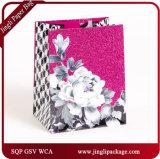 2017 sacs en papier floraux de cadeau d'achats iridescents avec la poudre de Glister