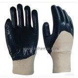 Twwice blaues Nitril 3/4 tauchte Sicherheits-Handschuhe ein