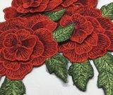 Laço de dois andares do bordado da correção de programa da flor da forma 3D