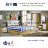 Cama De Madeira De Vietnã Com Mobiliário De Quarto Moderno De Couro (B706A #)