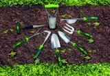 Herramientas de jardín 3 Prongs jardín de acero inoxidable Rastrillo de la mano Cultivador